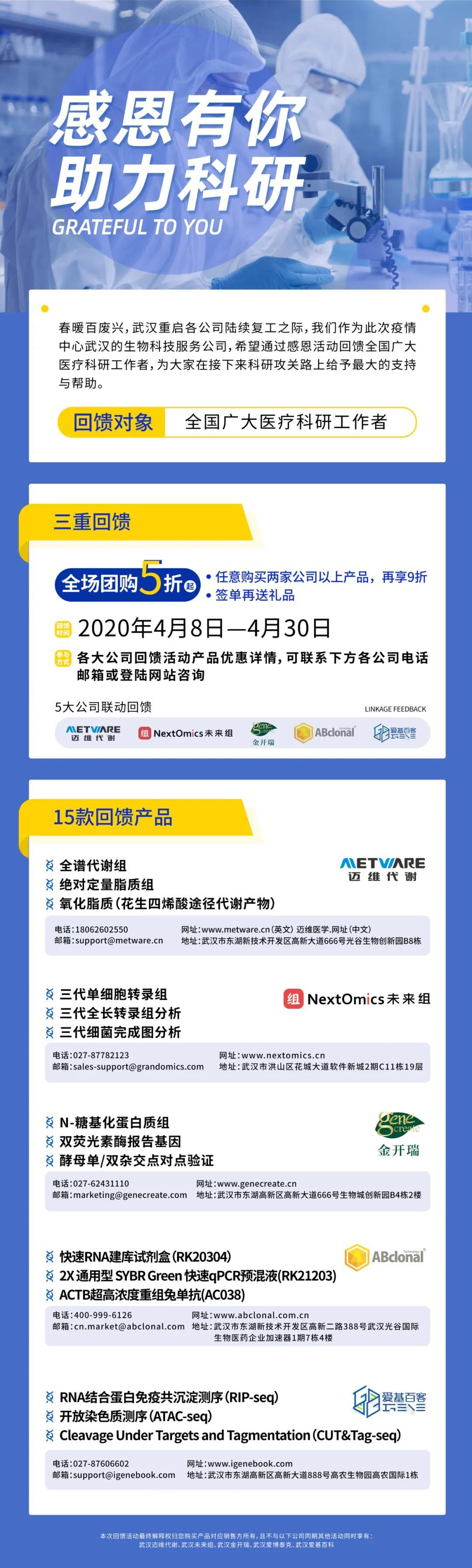 《感恩有你,助力科研丨武汉5大生物科技服务公司联合启动感恩回馈活动》